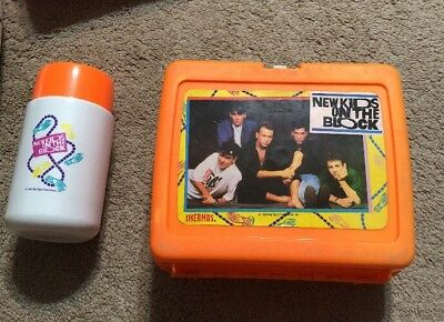 1990 Vintage New Kids On The Block Nkotb Plastic Lunchbox & Thermos