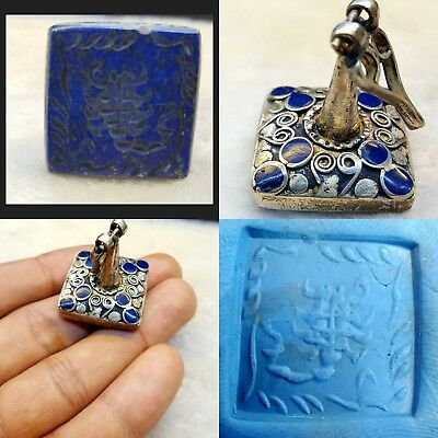Antique Silver Seal Stamp With Lovely Rare Lapis Old Scorpion Carving # Y1