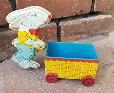 Vintage J. CHEIN Tin Lithograph Rabbit with Cart Toy / Antique Toy / Toy Rabbit