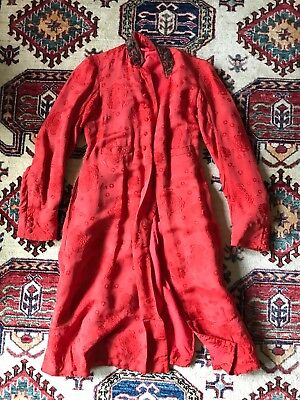 Vintage Calcutta Ghulam Mohamed jacket India red orange small xs duster antique