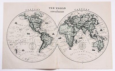 1875 world map hemispheres steamer routes large double page color 1875 world map hemispheres steamer routes large double page color original rare gumiabroncs Gallery