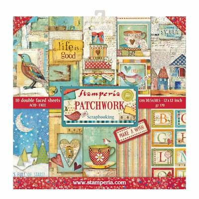 Stamperia Patchwork 12 x 12 Paper Pack - NEW RELEASE Birds Tea Trees Houses