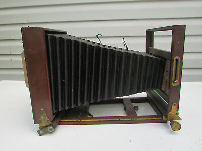 Antique Wood Box CAMERA Frame w/ Bellows – parts or repair