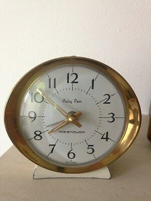 Vintage retro wind up alarm clock cream gold 60 70 collectable Baby Ben Westclox