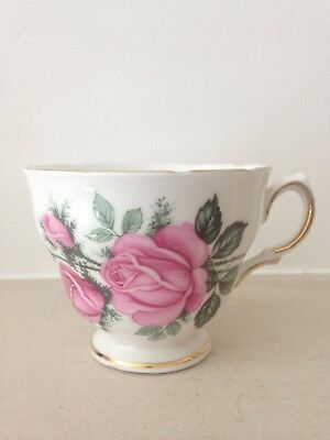 Vintage bone china teacup Royal Vale white with pink roses and gold rim