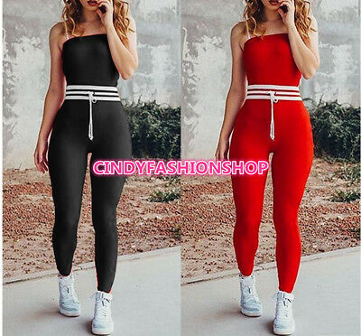USA Sexy Women Ladies Strapless  Body con Skinny Casual  Jumpsuit Rompers #JD