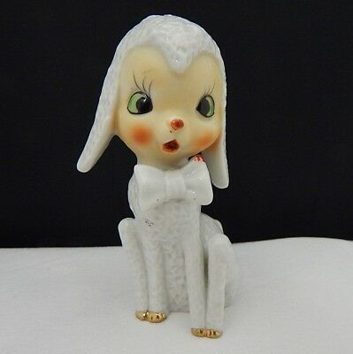 Vintage White Lamb Sheep Figurine with Bow Japan