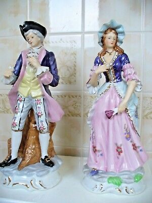 Large Pair Of Colourful Bisque Pottery Figures