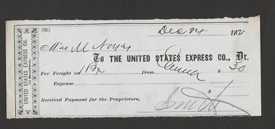 19 Century (1875 )UNITED STATES EXPRESS CO. receipt for Freight  XF Condition