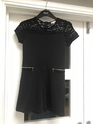 Girls Black Playsuit With Short Bottoms From River Island Age 11-12 Yrs