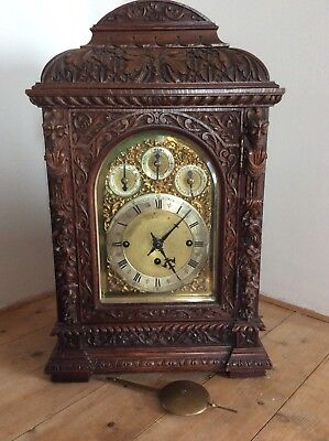 Antique carved Oak Triple Chain Fusee Bracket Clock