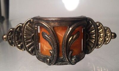Vintage Art Deco Drawer Pull Brass & Tortoise Bakelite Deco Antique Hardware