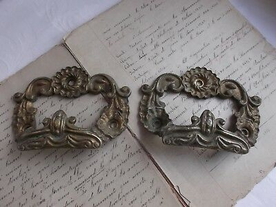 French a pair  antique ornate bronze cabinet drawer handles solid gorgeous