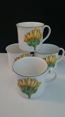 4 (Four) VILLEROY & BOCH FLORA COLLECTION SUNFLOWER CUPS MUG EX Unused Condition