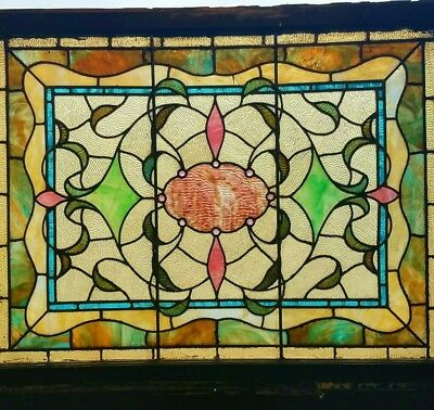 GREAT VICTORIAN STAINED GLASS WINDOW 29 by 38