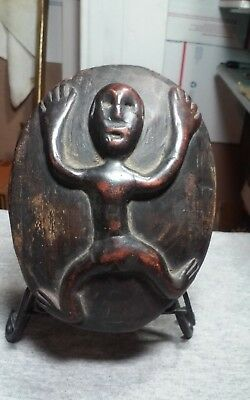 Interesting Vintage,old oval wall sculpture hand carved wood,African? Oceanic?