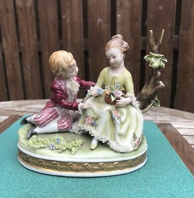 Capodimonte Figure Of Boy And Girl With Flowers - Dresden Lace - Perfect!