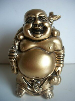 "Happy Laughing Smiling Lucky Buddha Statue Resin & Gold Buddha 3.5"" Tall"