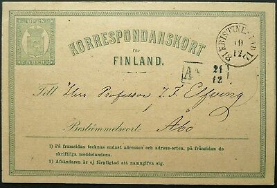 FINLAND 19 DEC. 8p POSTAL CARD FROM KRISTINESTAD TO ABO - SEE!