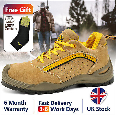 UK Mens Safetoe Steel Toe Safety Shoes Work Boots Yellow Anti-nail Sports Womens