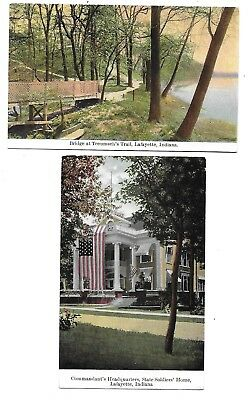 Lafayette, IN - 2 Cards - Trail Bridge - Soldiers' Home