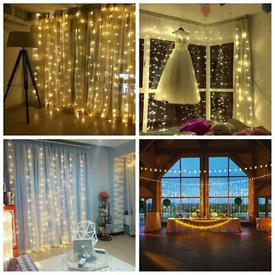 3-18M/300-1800 LED Window Curtain Icicle String Fairy Lights Wedding Party Decor