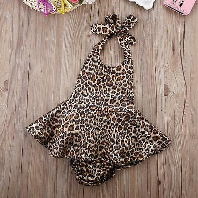 Baby Girls Sleeveless Jumpsuit Tops Backless Leopard Print Romper Outfits G