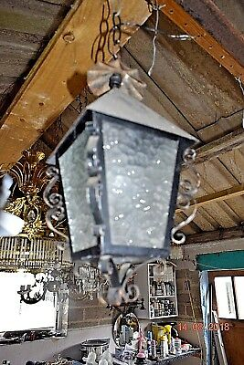 Old  French Lantern Scrolled Wrought Iron 1940/50