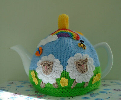 Hand Knitted Sheep In The Meadow Tea Cosy Medium Teapot Crochet Bunny  Rainbow