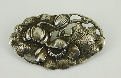 Vintage / Antique Art Nouveau Sterling Silver Lily Of The Valley Brooch