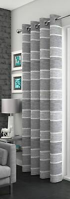 Sparkle Striped Glitter Grey/Silver Linen Eyelet Thick Voile Net Curtain Panel/S