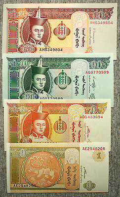 Set of 4 diff. Mongolia paper money 2000's Au-Uncirculated