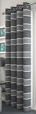 Sparkle Striped Glitter  Grey Charcoal Eyelet Thick Voile Net Curtain Panel/S