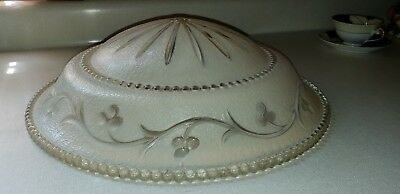 Antique Vintage ART DECO 1930's Ceiling Light Shade Fixture Cover Beige Glass