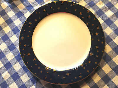 "GALAXY FINE PORCELAIN 10.75"" DINNER PLATE by SAKURA - 14k GOLD TRIM - GOLD STARS"
