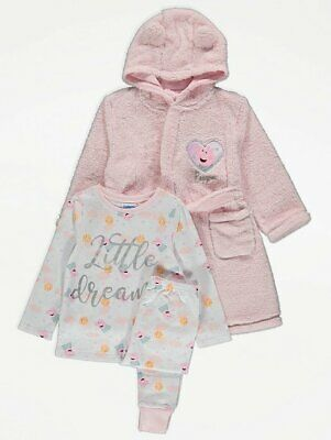 Kids Girls Peppa Pig Pyjamas pj's Dressing Gown 3 Piece Set  1.5-2-3-4-5-6years