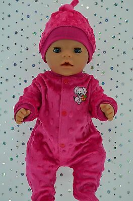 """Play n Wear Doll Clothes For 17"""" Baby Born HOT PINK MINKY STRETCH AND GROW~HAT"""