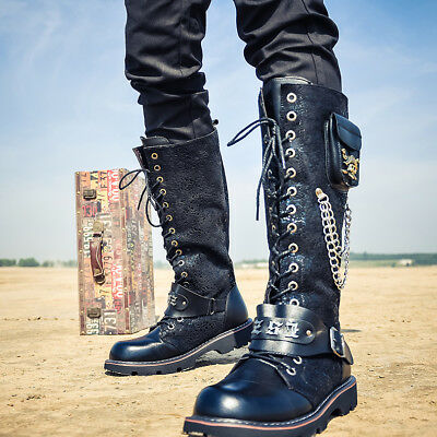 Mens Military Metal Decor Punk Motorcycle Gothic Shoes Casual Belt Buckle Boots