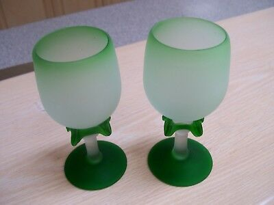 Two art glass goblets green embellished frosted