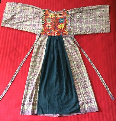 Guatemalan Dress Ikat Pattern w/ Floral Tapestry Panel Used Vintage Circa 1970's