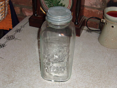Vintage Clear Glass Ball 1 Perfect Mason 1/2 Gallon Canning Jar with Zinc Lid