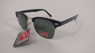 749aeef3519381 Ray Ban RB 3016 Clubmaster Black Gold w Green Lens Unisex 51mm Sunglasses  NEW