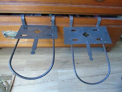 antique pair of iron and steel sliding fire grate trivets