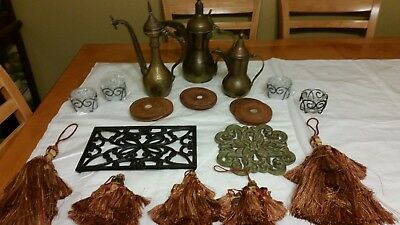 Vintage brass pitchers and other lot