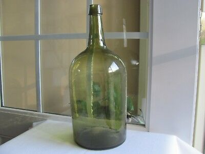 Brilliant Yellow Olive Demijohn With An Unusual Three Piece Mold Bright & Crude!