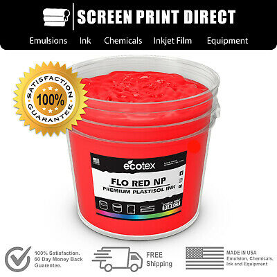 Ecotex FLO RED NP - Premium Plastisol Ink for Screen Printing - ALL SIZES