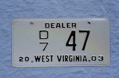 2003 West Virginia Dealer License Plate # 47
