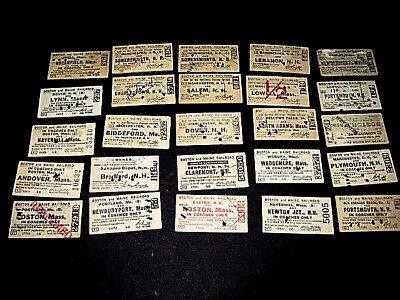 25- Boston & Maine, mostly 1930s. Used Railroad Tickets.-Punched, cancelled  sc