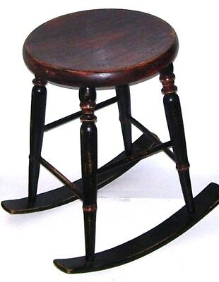 Antique Rocking Stool Wooden Old Sturdy Furniture Chair Rare Pat Applied Unusual