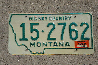 1969 Montana License Plate - Nice Quality Original